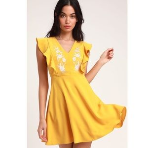 Lulu's Fit And Flare Dress Embroidered Floral Mini